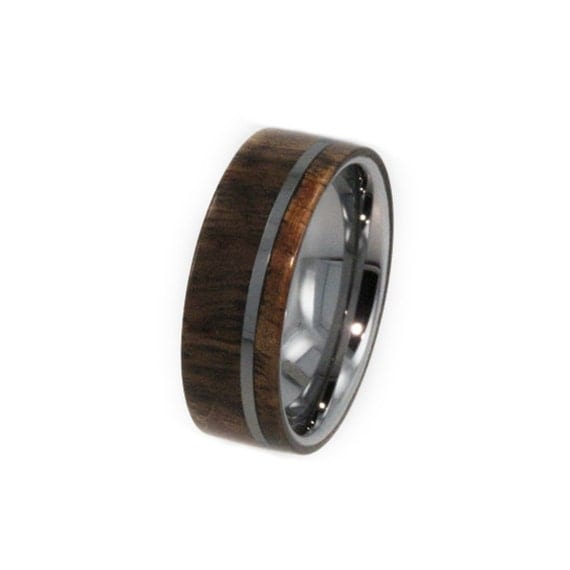 Waterproofed Wood Wedding Ring, Titanium Pinstripe, Exotic Hard Wood, Ring Armor Included