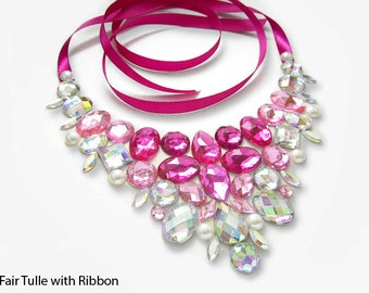 Bib Necklace, Pink, Rhinestone Statement Necklace, Crystal AB, Bridesmaid Necklace