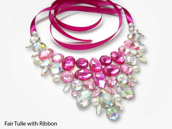 Pink Rhinestone Statement Necklace, Pink Jeweled Bib Necklace. Bright Pink Rhinestone Necklace, Pink and Crystal AB Bib Necklace