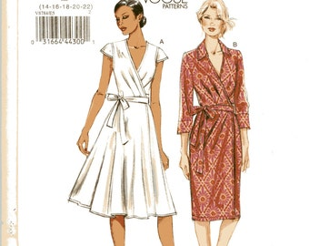 "Vogue V8784 Easy Wrap Dress Pattern Flared Skirt or Sheath, Princess Seam Bodice, Long or Short Sleeves Plus Sz 14-22 Bust36-44"" UNCUT, OFF"