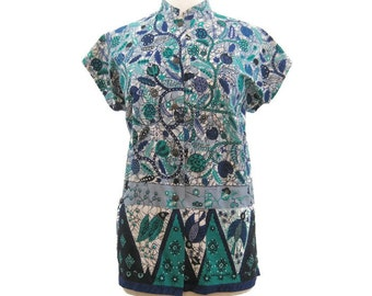 Vintage Hawaiian Blouse 60s Tea Timer Top Floral Tiki Print Summer Shirt L XL