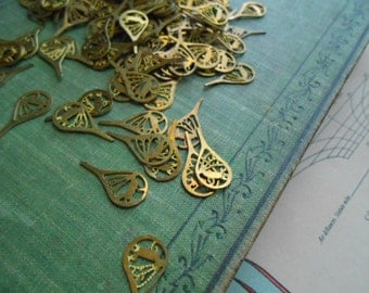 110 pc butterfly wing brass charm  - old new stock jewelry supplies - destash