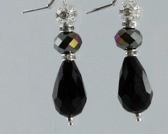 Black Crystal Bridesmaid Earrings, pearl crystal drop dangle earrings, Bridal party gift, Black wedding earrings, Art Deco earrings