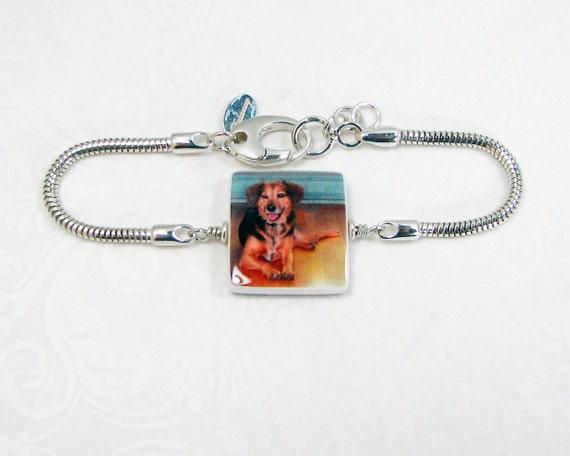 Snake Chain Bracelet with a Photo Charm - P3B9