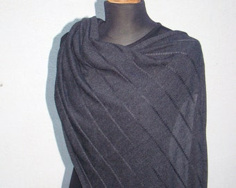 Shawl Wrap Merino Wool Charcoal Dark Gray Scarf Knitwear Escharpe chale schal