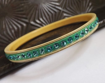 Vintage Art Deco carved celluloid rhinestone bangle bracelet striped jadeite teal blue green stones