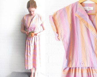 SALE Vintage 1960s Pastel Dress - Striped Pink, Purple, and Orange Sun Dress - Short Sleeved Cotton Dress - 50s Housewife Halloween Costume