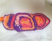 Free form crochet bracelet purple-pink- orange