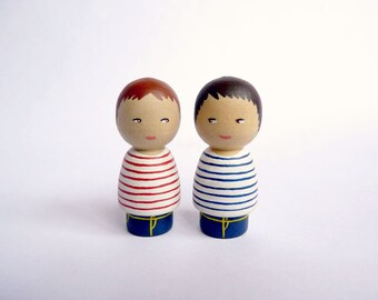 TWO personalized boys twins brothers children Portrait Dolls - Personalized - Wooden hand painted grandchildren boys girls