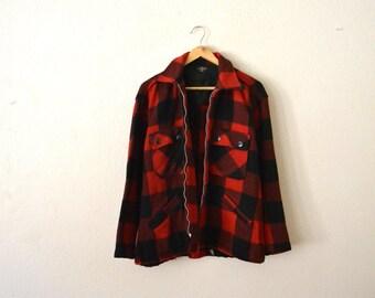 1940's-50's Wool Buffalo Check Flannel Jacket