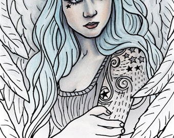 Coloring Page PRINTABLE Angel Tattoos Fantasy Art