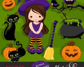 Halloween Clipart with cute witches, lots of cute critters, baby owls, cats, broomsticks, pumpkins, cauldron graphics. Bonus characters!