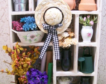 Florist Bookcase Flowers Shelving Shadow Box 1:12 Dollhouse Miniature Artisan