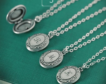 QUANTITY of 5 - Personalized Jewelry Tiny Initial Locket Necklace with Your Letter on Sterling Silver Chain, Bridesmaid Gifts, Bridal Party