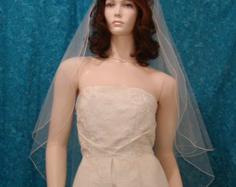 2 tier Traditional Style wedding veil fingertip length sprinkled with crystal rhinestones
