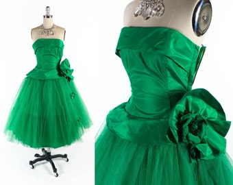 "Vintage 50s Prom Dress // 1950s Prom Dress // GREEN Prom Dress // Strapless Prom Dress // Tulle Dress - sz XS - 24"" Waist"