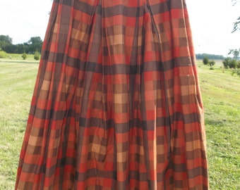 1960s Vintage Orange ad Brown Plaid Skirt 23 Inch Waist XXS