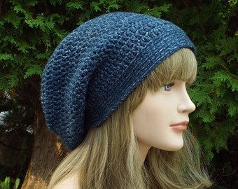 Denim Blue Slouchy Beanie, Womens Crochet Hat, Slouchy Hat, Oversized Slouch Beanie, Hipster Hat, Slouch Hat, Baggy Beanie