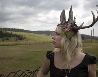 Jackalope 10 Point Antler Moss and Flower Headdress