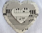 100 Music Note Die Cuts, Scrapbooking, Layered Embellishment, Tag, Card, Mixed Media Supply, Holidays, Package Topper, Kit, Heart, Valentine