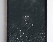 Leo Zodiac Constellation Stars, Night Sky Fine Art Print Home Decor Wall Art 8x10 Night Sky Print Zodiac Home Decor