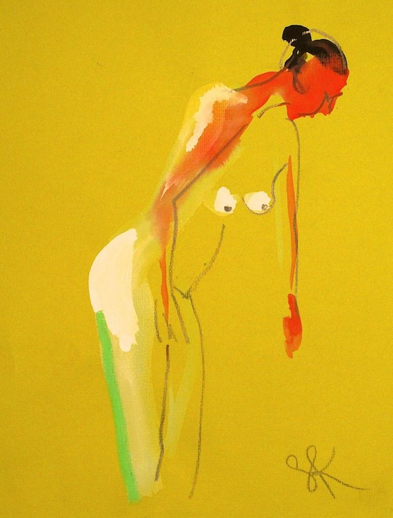 Nude painting- Original watercolor painting of One Minute Pose 81.5 by Gretchen Kelly