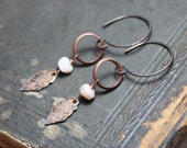 Pink Opal Earrings Long Antiqued Copper Leaf Ring Hoop Earrings Rustic Jewelry Dark Copper