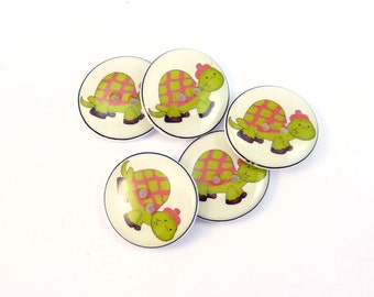 """5 Turtle Buttons. Turtle Sewing Buttons.  Novelty Buttons.  Craft Buttons.  Decorative Buttons.  Animal Buttons. 3/4"""" or 20 mm."""