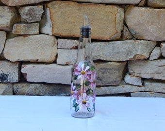 Hand Painted Glass Bottle with Dark Pink Daisies and Free Flowing Spout