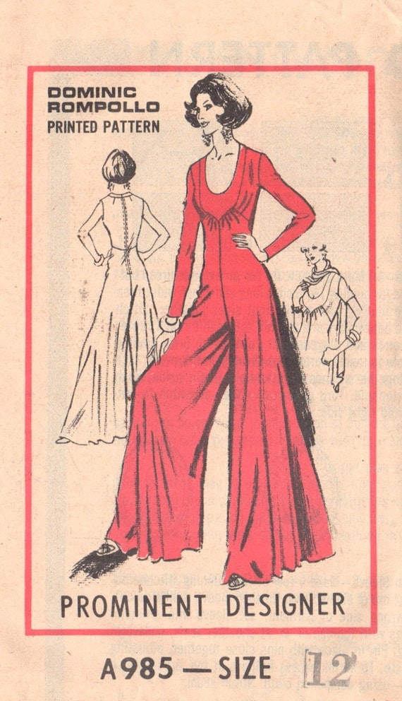 mail order a985 70s misses palazzo jumpsuit and scarf pattern