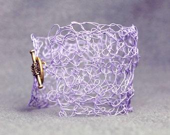 Purple Bracelet Wire Bracelet Wire Crochet Jewelry Handmade Jewelry Elven Jewelry Boho Funky Mother of the Bride Fairy Jewelry Crochet Cuff