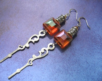 Orange and silver earrings - Flame Follower