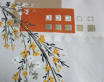 Vintage Fabric Scrap, 1960s Textured White Fabric with Yellow Flowers, Orange and Brown Boxes, 10 Inches x 2 Yards, Fabric for Small Project