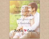 Anniversary quote print, Romantic paper gift, Love is a Fairytale, Print featuring your photo // You Choose Size & Type // H-Q27-1PS XX4