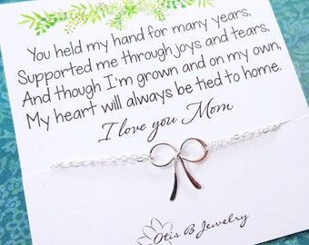 Gifts for Mom, Mother of the bride gift, Bow bracelet, Mothers day gift, wedding gift for mom, gift to mom from groom, tie the knot jewelry