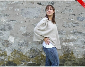 ON SALE Natural Linen and Organic Cotton Knitting - Poncho Fashion Accessories Style Wrap