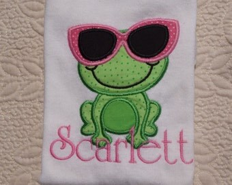 Monogramed Onesie or Tshirt Frog with SunGlasses