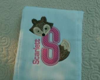 Boutique Custom Fox Monogrammed Personalized Burp Cloth