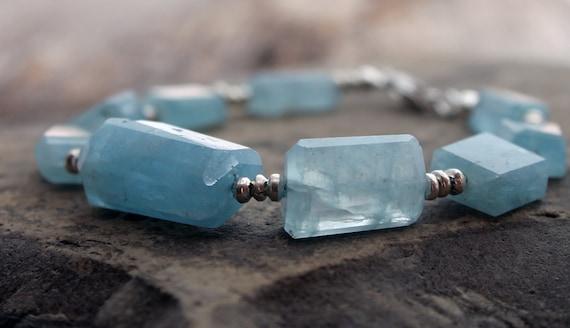 Chunky Aquamarine Beaded Bracelet
