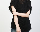 Hand knit sweater Eco cotton Tunic woman sweater rolled edge Kimono sleeve black sweater