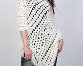 Hand crocheted woman poncho crochet scarf white cream scarf