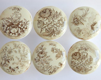 Antique Style Sepia Floral Knobs, Sepia Ornate Flower Knobs, Vintage Floral Drawer Knobs, Vintage Style- 1 1/2 Inches