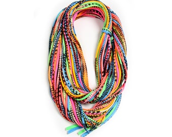 Statement Necklace, Chunky Necklace, Winter, Neon Scarf, Neon, Festival, Tribal, Accessories, Best Friend, Hipster, Hippie, Gifts, Scarf