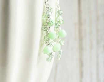Pale Green Earrings - Mint Green Cluster Earrings with Silver Plated Hooks, Light Green Dangle Earrings, Green Bead Earrings, Glass Jewelry