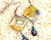 Polymer clay earrings, handmade, boho chic, hippie, ancient metal technique, Swarovski crystals, stone accents, ready to ship