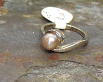 Pearl Ring: 6mm Gold Bronze FWP Sterling Silver Bypass Solitaire Ring - Size 5