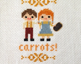 Carrots! Cross Stitch- Anne of Green Gables inspired parody-PDF Instant Digital Download