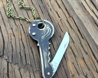 Antiqued Key Knife Necklace