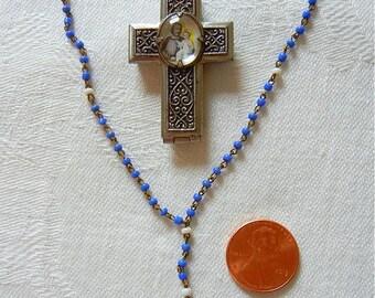 Tiny Rosary Metal Case Czechoslovakia Glass Beads