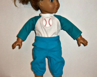 Baseball Outfit, 18 inch Doll, Aqua Blue Shirt Pants, Sports, American Made, Girl Doll Clothes